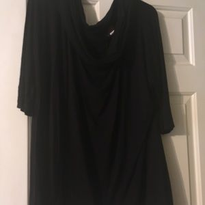 Tops - Long black scoop blouse. Good condition